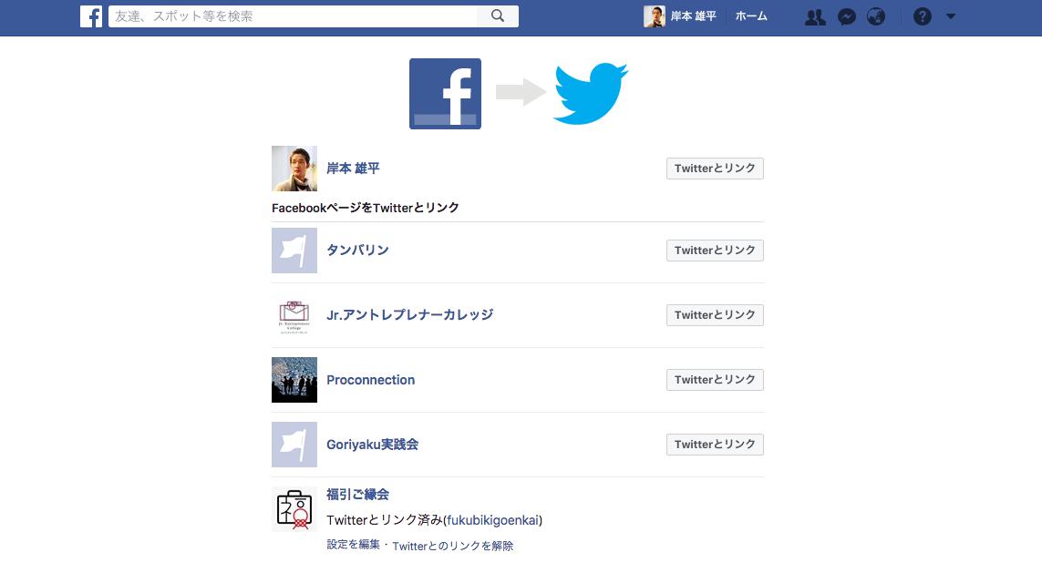 FacebookページをTwitterを連携させる方法